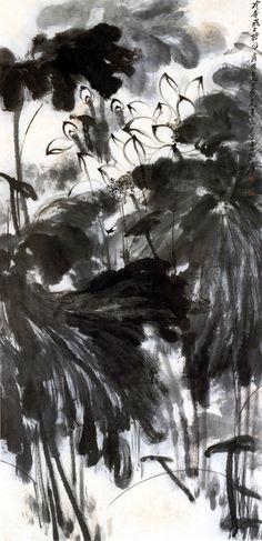 Zhang Daqian Lotus #sumie #brushpainting #Ink and Wash Painting #Chinese Art #Japanese Art