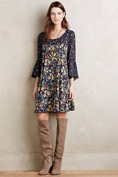 Endora Swing Dress love this look overall, color, fabric etc. Boot heels are too high though