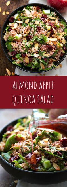 Delicious and Easy Almond Apple Quinoa Salad with the BEST raspberry vinaigrette