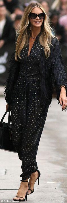 Elle Macpherson wears sheer polka dot jumpsuitcfor Jimmy Kimmel Live #dailymail