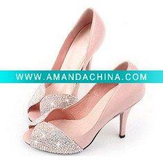 WS026 Gorgeous glaring jeweled low heel peep toe pink wedding shoes