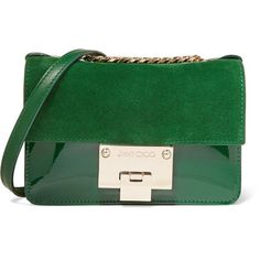 Jimmy Choo Rebel Soft mini patent-leather and suede shoulder bag (18.765 CZK) ❤ liked on Polyvore featuring bags, handbags, shoulder bags, green, mini crossbody, suede shoulder bag, patent leather handbags, green handbags and mini handbags