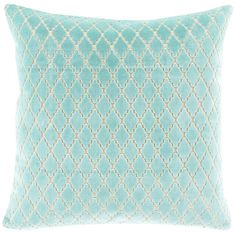 Turquoise Scalloped Diamond Pillow