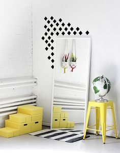 Pintura de parede com losangos