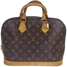 f73261d4cd23 Authentic LOUIS VUITTON Alma Hand Bag Monogram Leather Brown M51130 66EJ428