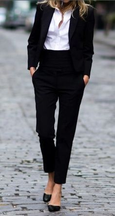 Can't go wrong with a classic black suit. Trying to get brave enough to try this silhouette in pants!