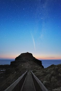 The stunning tail of Comet Lovejoy (C/2011 W3) is photographed in the morning sky above Cape Schanck, about 90 km from Melbourne, southeastern Australia. The 200-meter icy body not only survived its close perihelion (only 185,000 km from the Sun's surface), but in the days afterward this sungrazer comet also held together and reformed its dust and gas tails.