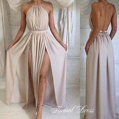 Nude Prom Dress,Halter Chiffon Prom Dress, Backless Party Dresses For Women,Slits Prom Dress,Women Outfit,Fashion Dress,Prom Dress 2016