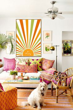 Colourful Living Room, Coastal Living Rooms, Boho Living Room, Home And Living, Living Room Decor, Living Spaces, Bohemian Living, Colorful Couch, Coastal Entryway