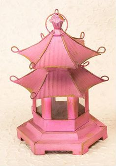 Chinoiserie - Pink Pagoda Lantern- I bought two of these for a client and had them electrified...in red!