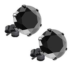 Pair of Black IP Stainless Steel Round Cut 3mm, 4mm, 6mm, 8mm, 10mm Black Cz Stud Earrings Mens Womens >>> Check out @…