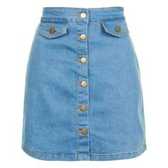 Alabama Denim Skirt by Wyldr ($43) ❤ liked on Polyvore featuring skirts, blue denim skirt, blue skirt, button down denim skirt, pocket skirt and topshop skirts