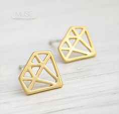 Diamond Outline Gold Post Earrings - Sterling Silver Posts, Matte Gold 16k Gold Plated Stud Earrings, Dainty Gold Earrings, Simple Jewelry on Etsy, $15.00