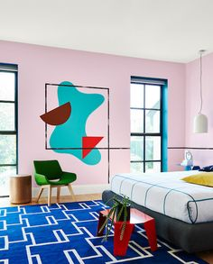 Dulux 2016 spring colour forecast looks to the & - The Interiors Addict Chaise+table basse Pink Feature Wall, 60s Bedroom, Bedroom Ideas, Interior Architecture, Interior Design, Welcome To My House, Memphis Design, Spring Colors, New Room