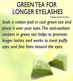Use green tea to promote longer, thicker lashes. Make some green tea and let it cool, soak some cotton pads in the tea mixture and place it on your eyes for 10-15 mins. Rinse off with cool water. You can also apply Chilled green tea bags on your eyes to condition your lashes. Using used, cool tea-bags on your eyes will not only improve circulation on the hair follicles making the lashes grow longer but will also help a lot with eye puffiness, dark circles, fine wrinkles if you have any…