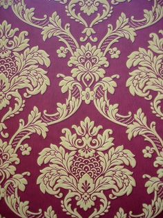 Burgundy & gold damask