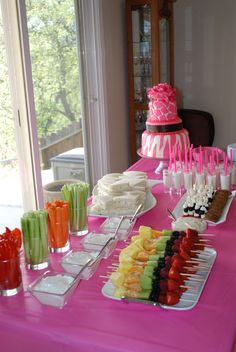 Tiffany's Pink Animal Print Themed Baby Shower - All Hors' de Oeuvres and Cake made by mom and I