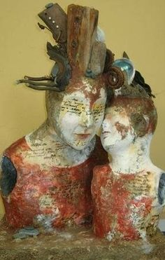 "Kath Girdler Engler ""Kath Girdler Engler's sculptures are appealing both in physical form and through . Ceramic Sculpture Figurative, Figurative Art, Ceramic Figures, Ceramic Art, Assemblage Art, Clay Art, Mixed Media Art, Art Forms, Altered Art"