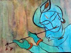 Krishna with flute - Aalekh - Paintings & Prints Fantasy & Mythology Mythology Other Mythology - ArtPal Flute Drawing, 3d Art Drawing, Art Drawings For Kids, Art Drawings Sketches, Krishna Painting, Krishna Art, Cute Canvas Paintings, Indian Folk Art, Pen Art