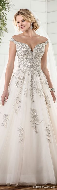 essense australia fall 2017 bridal off the shoulder sweetheart neckline heavily embellished beaded bodice romantic princess ball gown a  line wedding dress chapel train (79) lv -- Essense of Australia Fall 2017 Wedding Dresses