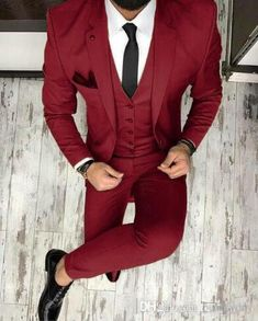 Piece on Beautyday& Store DHgate com is part of Prom suit outfits piecebuy wholesale burgundy groom tuxedos wedding suits groomsmen best man for young man prom suits jacket+pants+bow tie custom -