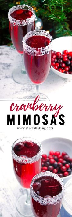 Cranberry Mimosas: A cranberry lover's version of the standard mimosa. Tart cranberries pair perfectly with a sugar-rimmed glass and sparkling champagne bubbles! | Stress Baking