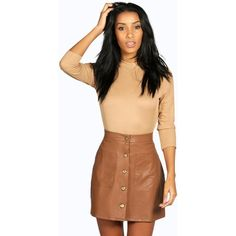Black Leather-Look Double Zip Front Mini Skirt (13 CAD) ❤ liked ...