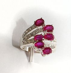 Silver ring with rubies and sapphires  Rubies are from Africa 297$