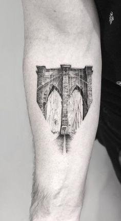 architecture inspired tattoo - Brooklyn bridge © tattoo artist Victoria Do ❤ 🌉 ❤ 🌉 ❤ 🌉 ❤ 🌉 ❤ Ma Tattoo, Brain Tattoo, Best Sleeve Tattoos, Body Art Tattoos, Bird Tattoos, Architecture Tattoo, Net Architecture, Bridge Tattoo, Brooklyn Tattoo