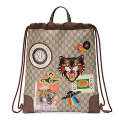 a75222da83ea7 GUCCI GUCCI COURRIER SOFT GG SUPREME DRAWSTRING BACKPACK.  gucci  bags   leather