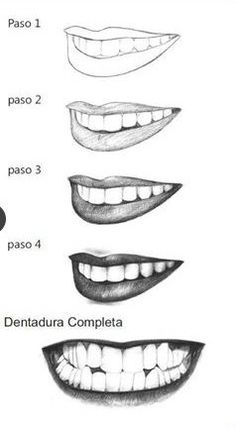 bocas, paso a paso, 3/4, blaco y negro, steps, dientes, teeth, mouth, lips, labios, lapiz, pencil, white and black