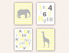 Chevron Elephant, Giraffe, Alphabet, Numbers Print Set - Light Yellow and Gray Wall Art - Zoo or Jungle Nursery Art - ABCs Typography on Etsy, $28.00