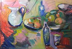 JOSE TRUJILLO OIL PAINTING EXPRESSIONISM IMPRESSIONIST ABSTRACT WINE FRUIT TABLE   eBay