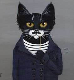 Hipster Mustache Black Cat Original Folk Art by Kilkennycat