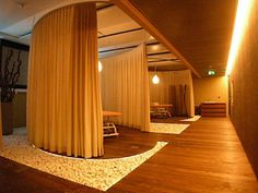 Google offices around the world - massage room in Zurich. Omg I love this #curtains I want these curtains.