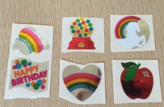 Vintage 80's Stickers~ Lot of 6 | Hambly | Foil | Rainbow, Heart, Gumball, Unicorn, Birthday, Apple | Mylar by BrightEyedZombie on Etsy