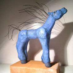 Blue Horse with Wild Hair - Blue Fire Studio