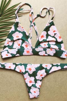 e6f5099959b35 Floralkini Floral Print Cross Back Triangle Swimsuit – FloralKini Women  Swimsuits