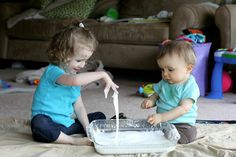 Super Easy Sensory Play: Cornstarch and Water from Fun at Home with Kids - And MORE SENSORY PLAY RECIPES HERE!