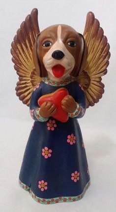 "Mexican Terra Cotta Angel Flaming Heart Ex Voto Dog Figurine Folk Art 8.5"" Peru"