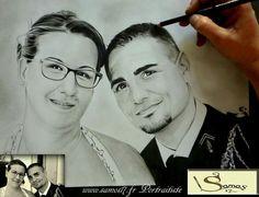 Portrait dessin mariage. Dessin au crayon portrait. Amazing www.samos17.fr portraitiste