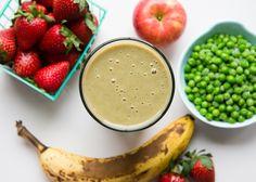 Sweet Pea Smoothie   1/2 cup frozen petite peas, 1/2 banana, 1/2 apple, 1 cup berries (strawberries, raspberries, etc) 1/2 cup milk or yogurt