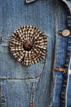 Brown Tweed Fabric Flower Clip with Leather Button by mcclellansn, $6.50