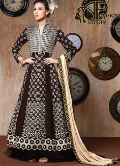 Style and trend would be on the peak of your elegance as soon as you attire this Chocolate Georgette Unstitched Salwar Kameez. The lovely Lace & Stones work a substantial attribute of this attire.