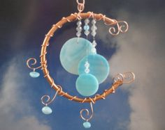 Once in a Blue Moon Wind Chime, Home Decor, Garden Decor, Teal Stained Glass, Mobile, Window Hanging, Celestial, Garden Art, Copper Moon