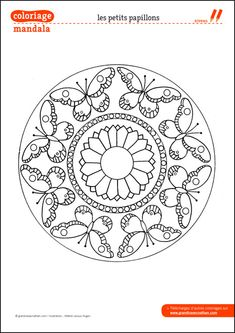 iColor Butterflies Butterfly Mandala links to site Coloring Pattern Coloring Pages, Mandala Coloring Pages, Coloring Book Pages, Butterfly Mandala, Mandala Art, Embroidery Patterns, Hand Embroidery, Butterfly Coloring Page, Dot Painting