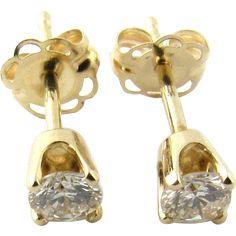 Vintage 14 Karat Yellow Gold Diamond Stud Earrings .24 ct.