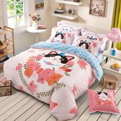 Pink Peach Black and Blue Cat Pattern Animal and Flower Print Hipster Style Cartoon Girls 100% Cotton Twin, Full Size Bedding Sets