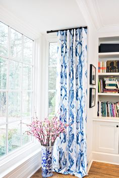 cobistyle hawthorn drapery curtain panel custom blue and white ikat cotton lined