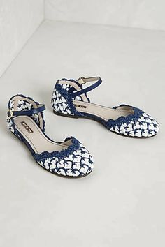 merrymerritt's save of Anthropologie - Liliana Woven D'Orsays on Wanelo Blue And White Sandals, Peep Toe, Dream Shoes, Shoe Closet, Pumps, Heels, Ankle Straps, Womens Flats, Retro